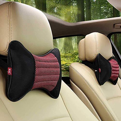 Almohadas de cuello de coche individuales 1 pieza reposacabezas apto para la mayoría de coches relleno de fibra universal almohada de coche (rojo)