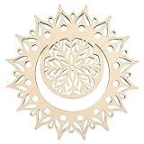 GLOBLELAND 31 CM Luna Mandala Flor Madera Arte de la Pared Decoración Corte Láser...