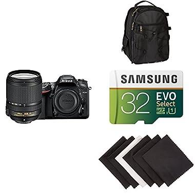 Nikon D7200 DX-format DSLR w/18-140mm VR Lens (Black) AmazonBasics Accessory Bundle