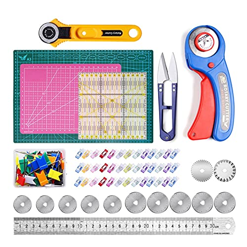 120 PCS Kit de cortador giratorio, kit de herramientas de cortador giratorio de 45 mm con 12 cuchillas adicionales, estera de corte, cinta métrica, cuchillo de tallado, bolsa de almacenamiento, clips