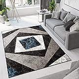 Tapiso Dream Alfombra de Salón Cuarto Diseño Moderno Azul Negro Gris Blanco Geométrico Cuadrados Fina 160 x 220 cm