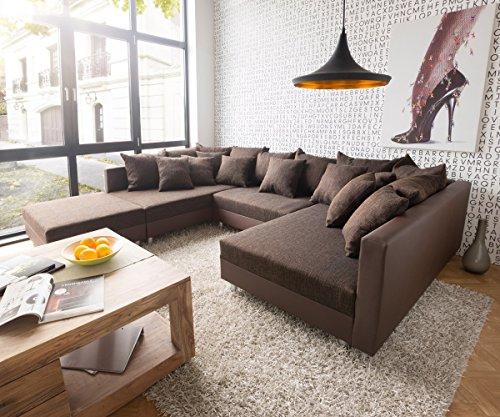 Sofa Clovis erweiterbares Modulsofa Eckcouch Wohnlandschaft (Sofa mit Hocker, Braun/Braun)