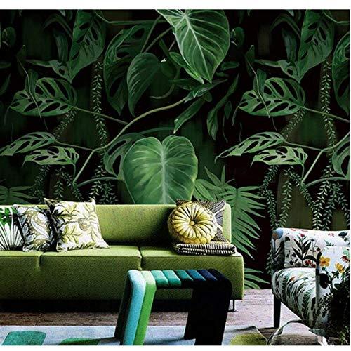 Wuyii 3D Retro Tropisch regenwoud palmbladeren muurschildering behang woonkamer restaurant wandbekleding bananbladeren behangrol 150 x 120 cm.