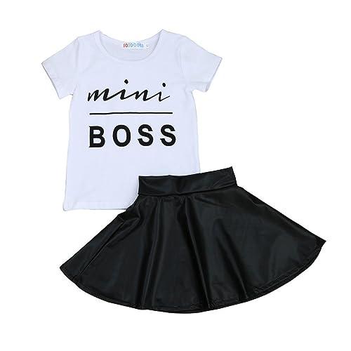 b10a530f25872 Transer Kids T-Shirt + Skirts, Baby Girls Letter Print T Shirt Tops +