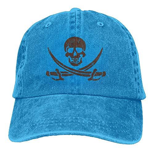 CustomHK Jolly Roger - Gorras de béisbol para adulto, diseño de calavera pirata, espadas cruzadas