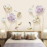 DERUN TRADING Pegatinas de Pared Goldfish y Lotus Vinilos Decorativos Sala Flores Adhesivos Pared Guardería Habitación Infantiles Niños Bebés Dormitorio
