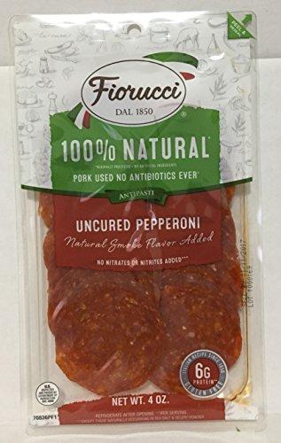 4oz Fiorucci Uncured Pepperoni Sliced, 100% Natural, No MSG (One Bag)