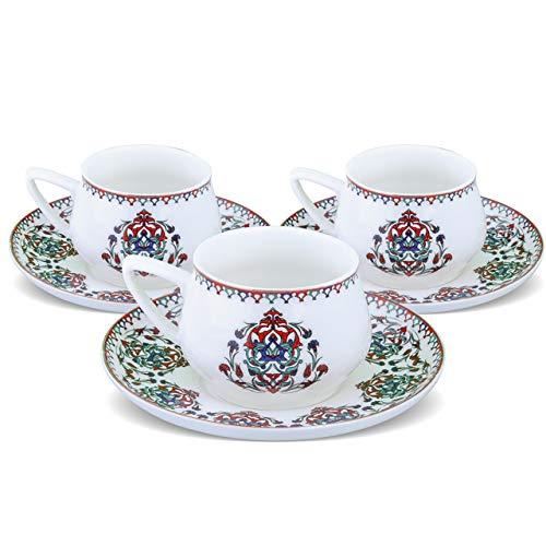 KARACA Nakkash Türkische Kaffeetassen Set Für 6 Personen, 12 TLG, 6X Espressotasse und 6X Untertasse, Mokkatassen/Espressotassen Set aus Porzellan, Kaffeetassen mit Untertasse