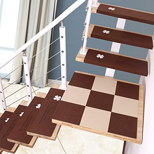 Tappeto per tappetini per Scale Luminoso da 5 Pezzi, tappetini Antiscivolo per Protezioni per Scale, tappetini per Scale autoadesivi, Marrone 75 * 21,5 * 4 cm,Brown~B-L