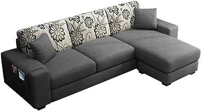 Furny Berlando Fabric 4 Seater RHS L Shape Sofa Set (Dark Grey)