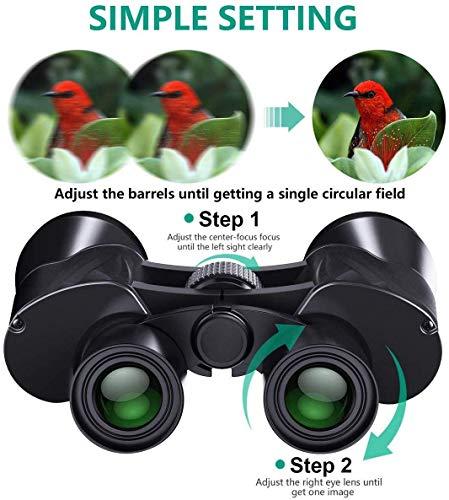 YXZQ Großes Okular, wasserdichtes Weitwinkelfernglas für Vogelbeobachtung, Jagd, Konzerte. Langlebiges Fernglas Fernglas mit Nachtsicht bei schlechten Lichtverhältnissen