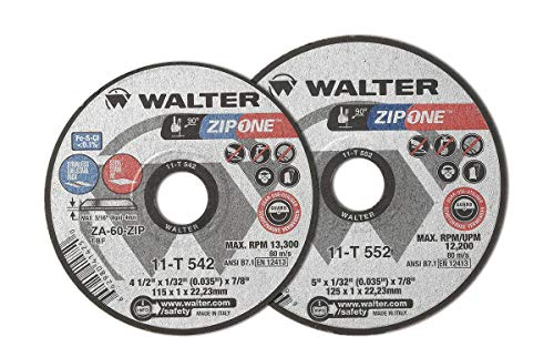 Walter 11T662 Zip One Cutoff Wheel – [Pack of 25] ZA-60 Grit Abrasive Wheel with 7/8 in. Arbor. Power Finishing Tools