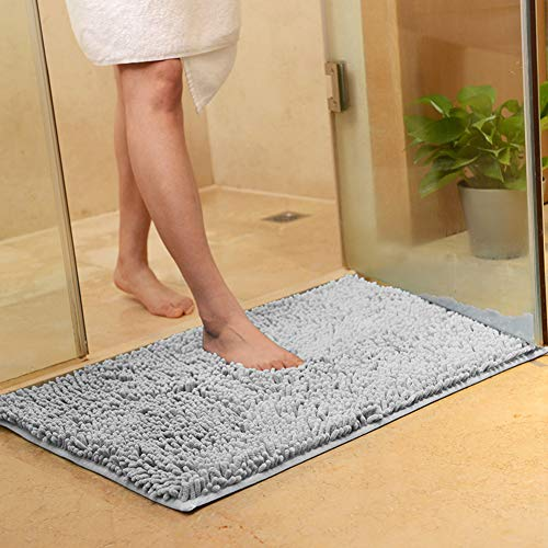 vctops Plush Chenille Bath Rugs Extra Soft and Absorbent Microfiber Shag Rug, Non-Slip Runner Carpet for Tub Bathroom Shower Mat Silver Grey 20' X 31'