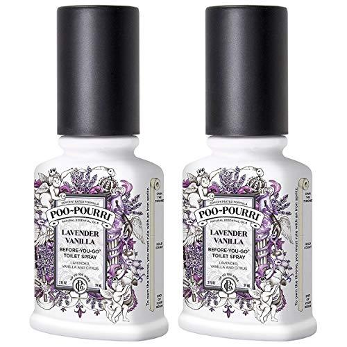 PooPourri BeforeYouGo Bathroom Spray Lavender Vanilla  2 Ounce 2 Pack with Ornament Box