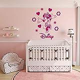 fancjj Minnie Mouse Vinilo Pegatinas de Pared para niños habitación Nombre Personalizado Flor Removeable Decal Chica Dormitorio Decoración 57x64 cm