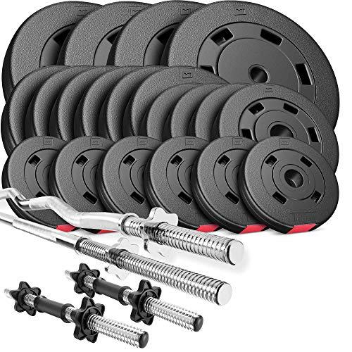 Hop-Sport Hantelset 105 kg 1x Langhantel-Stange, 1x SZ Curl-Stange, 2X Kurzhanteln, Gewichte 4x10kg / 6x5kg / 4x2,5kg / 6x1,25kg (SZ)
