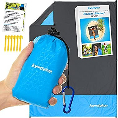 KYNETYKON Beach Picnic Blanket, Waterproof Pocket Blanket 55 x70  – Compact Outdoor Mat for Travel, Hiking, Camping, Parks, Festival, Concerts, Sports, Bike. Camping Tarp w/ 6 Loops & Stakes, Pouch