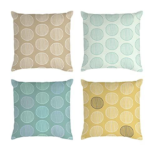 SPANKER SPACE Juego de 4 fundas de almohada decorativas de lino y algodón, diseño artístico, estilo chino, color amarillo, impresión de doble cara, 45,7 x 45,7 cm, para sofá, dormitorio, sala de estar