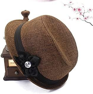 SGJFZD Cotton and Linen Heart and Quiet Ladies Linen Hat Japanese Basin Cap Five Petals Hat Four Seasons New Elegant (Color : Coffee)