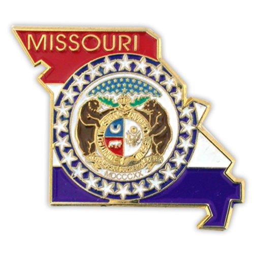 PinMart State Shape of Missouri and Missouri Flag Lapel Pin
