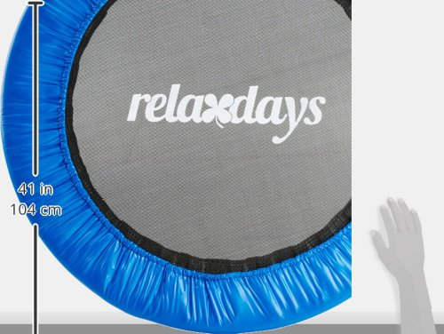 Relaxdays Fitness Trampoline, 91 cm Diameter, Aerobic Indoor Trampoline, Holds up to 100 kg, Endurance Training and Fitness, Blue