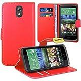 FoneExpert HTC Desire 526G Handy Tasche, Wallet Hülle Flip Cover Hüllen Etui Ledertasche Lederhülle Premium Schutzhülle für HTC Desire 526G (Rot)