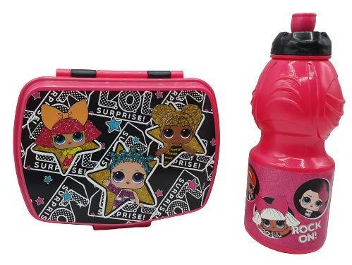 CM Pack 2pcs Botella de Agua plastico Infantil 400ml- Fiambrera sandwicheras para niños, cantimplora a Prueba de Fugas sin BPA (Fuxia-lo)