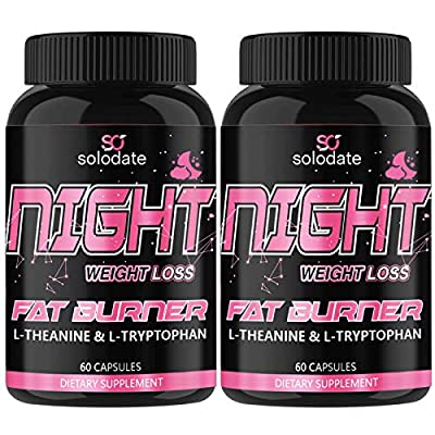 2 Pack Night Time Fat Burner,Appetite Suppressant and Sleep Aid Supplement,Boost Metabolism,Weight Loss Pills for Women and Men,60 Capsules Healthier Diet Pills