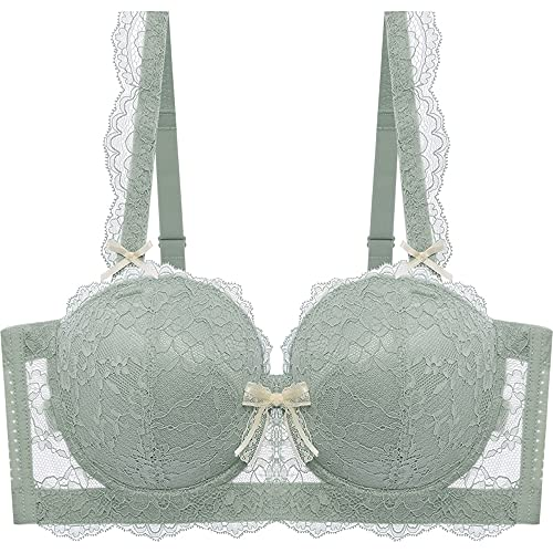 JIANXINlh Bralettes für Damen, Übergröße, tiefer BH, geschnürt, Bralette, Push-Up-Balkonette-BH, sexy Dessous, gepolsterter BH (Farbe: grün, Größe: 44C/100C)