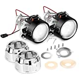 Nilight 2.5' Mini Projector Lens for H1 Bulb Headlights Retrofit, Custom Headlamps Conversion:Chrome Shround,2 Years Warranty
