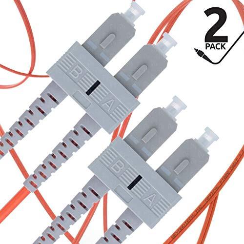 Cable de Fibra Óptica SC a SC 3M Multimodo Duplex (2 Pack) - UPC/UPC - 62.5/125um OM1 (LSZH) - Latiguillo Doble Fibra Óptica - Beyondtech PureOptics Cable Series
