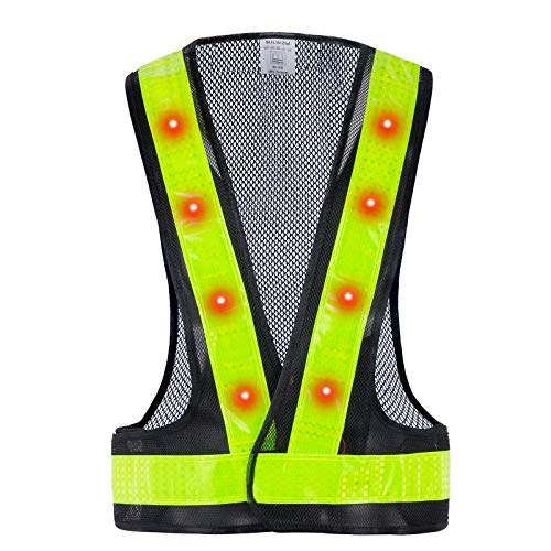 SULWZM LED Safety Vest, 16 Lights with 4 Modes, High Visibility Reflective Running Vest(Black, Free Size)