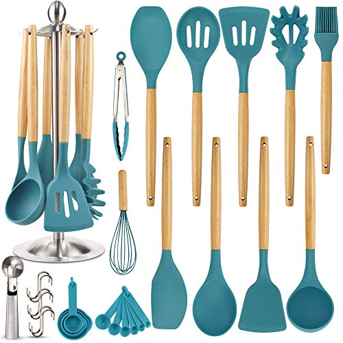 Silicone Kitchen Cooking Utensil Set, EAGMAK 16PCS Kitchen Utensils Spatula Set with Stainless Steel Stand for Nonstick Cookware, BPA Free Non-Toxic Cooking Utensils, Kitchen Tools Gift (Dark Blue)