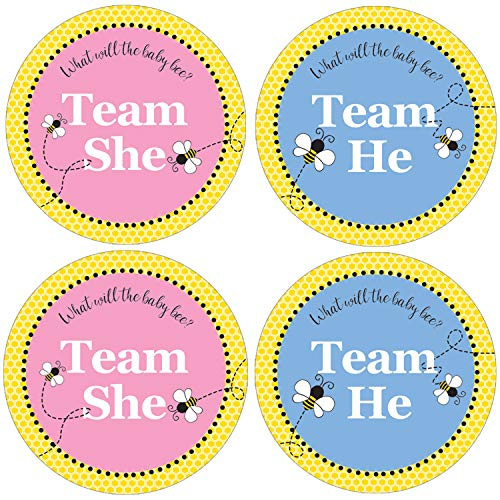 What Will Baby Bee Gender Reveal Team Boy or Girl Stickers - 40 Labels