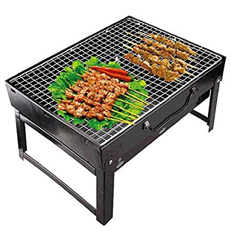 Royal Folding portable outdoor Barbeque Charcoal BBQ Grill Oven black carbon steel, Black + 3 Nos of BBQ Still needles