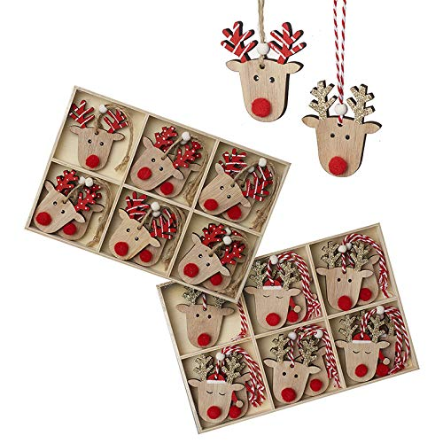 Heaven Sends - Set di decorazioni per albero in legno con corna dorate/rosse, 30,5 cm
