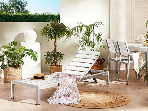 Beliani Praktischee Gartenliege Kunstholz verstellbare Rückenlehne weiß Nardo