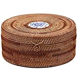 Caja de ratán Cestas Redondas Tela Torta Postre Almacenamiento de Galletas Cajas Tejido Caja de Cocina Canasta de Pan con Tapa Canasta Pan