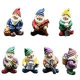 BSTEle Figuritas enanas Gnomos de jardín 7PCS Figuras en Miniatura de Resina Adornos en Miniatura de Navidad para la decoración del hogar Adornos al Aire Libre