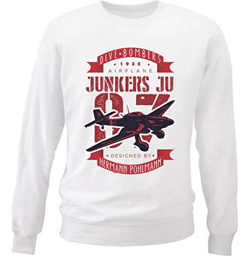 teesquare1st Men's Junker JU 87 Bomber White Sweatshirt Size Large