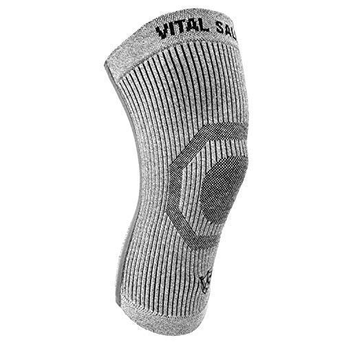 Vital Salveo-Compression Joint Protection Recovery Knee Sleeve/Brace S-Support, Pain Relief, Sports and Daily wear - Light Grey (1PC) Large