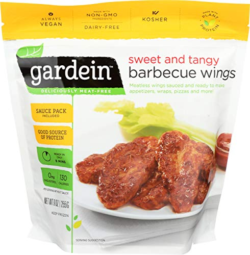 Gardein Sweet and Tangy Barbecue Wings, Meatless Protein Packed Wings, Contains Sauce Packet, 9 Ounces (Frozen)