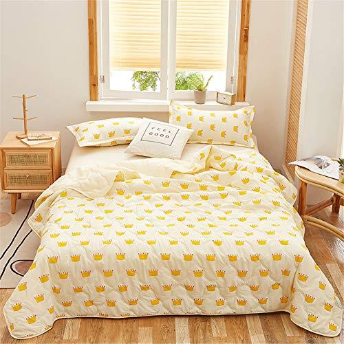 Fansu Tagesdecke Bettüberwurf Steppdecke Mikrofaser Doppelbett Einselbetten Gesteppt Bettwäsche Sofaüberwurf Wohndecke Bettdecke Stepp Gesteppter Quilt (Gelbe Krone,150x200cm)