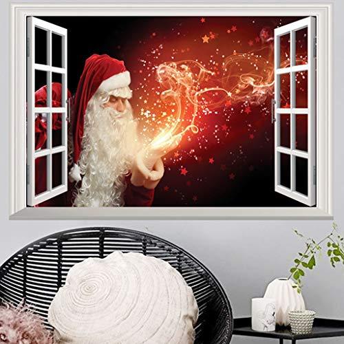Nwn Weihnachten Gefälschte Fenster 3D-Wand-Aufkleber Personalisierte Startseite Weihnachtsdekoration Stereo-Wand-Aufkleber-Aufkleber 72 * 48.5cm (Color : A)