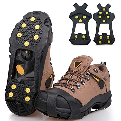 SILANON Ice Snow Cleats for Shoes Boots,Walk Traction Cleats Rubber Crampons Anti Slip 10-Stud Winter Ice Cleat Slip-on Stretch Footwear for Women Men Kids