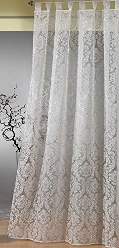 heimtexland Gardine Schlaufenschal Barock transparent mit Flock Ornamenten in Champagner HxB 235x140 cm - edle weichfliesende Qualität schöner Fall …auspacken, aufhängen, fertig! Vorhang Typ264