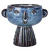 Blue Ceramic Head Planter