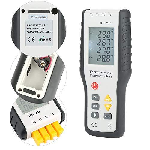 HT-9815 Digitales Thermoelement-Temperaturthermometer mit K-Typ-Thermoelement-Sonden-Hintergrundbeleuchtung LCD-K-Typ-Thermometer 4-Kanal