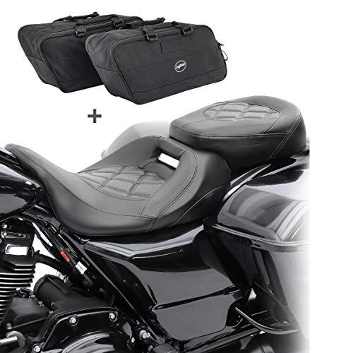 Asiento Moto Set para Harley Street Glide 09-20 + Bolsas Interiores S-AI1