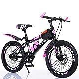 TATANE Biciclette per Bambini, 20/22/24 Pollici Studente Mountain Bike, Ragazzo e Ragazza Single Speed Disc Brake Pedal Bike MTB,Rosa,24inch
